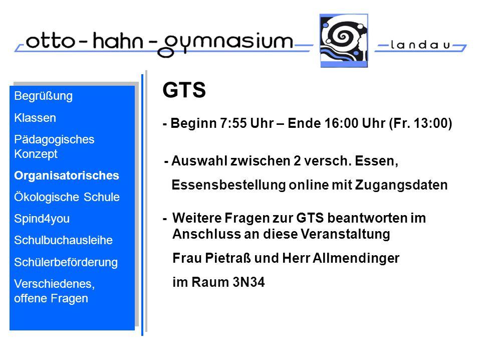 GTS - Beginn 7:55 Uhr – Ende 16:00 Uhr (Fr. 13:00)