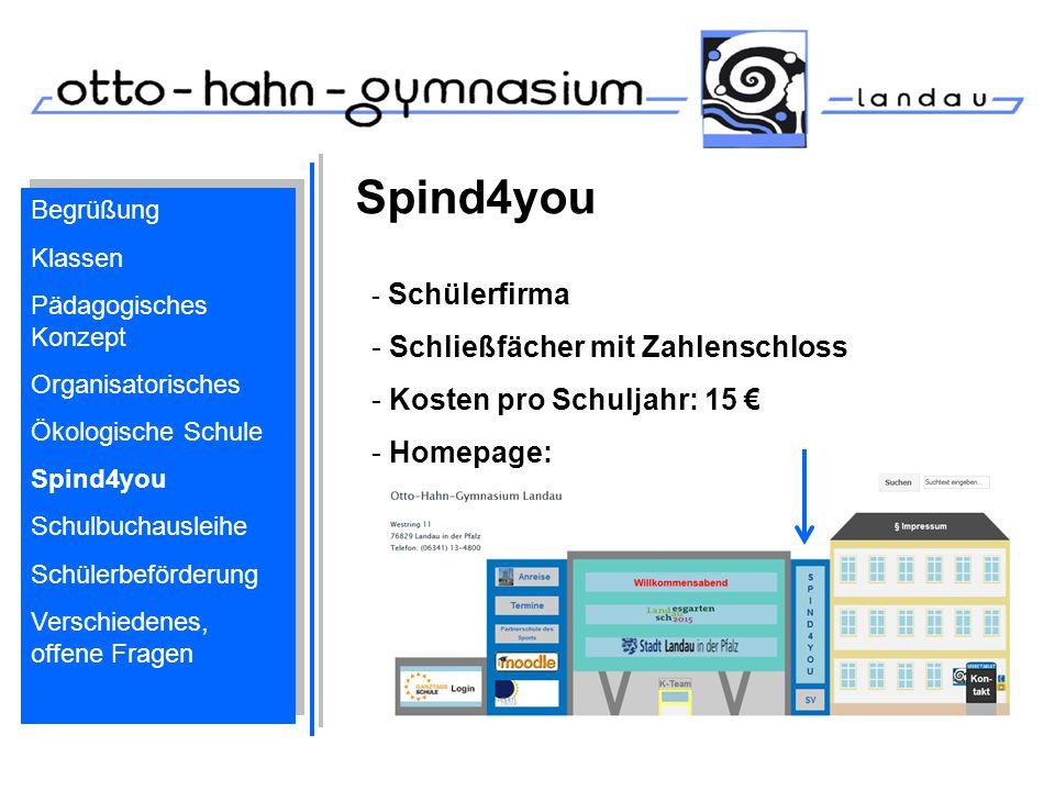 Spind4you Schließfächer mit Zahlenschloss Kosten pro Schuljahr: 15 €