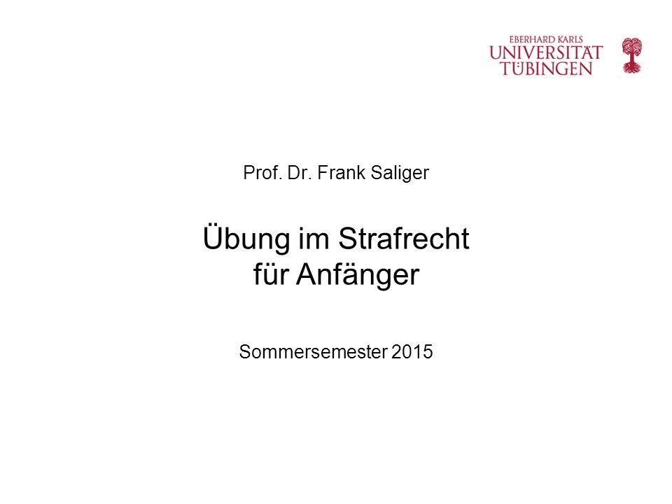 Prof. Dr. Frank Saliger Übung im Strafrecht für Anfänger