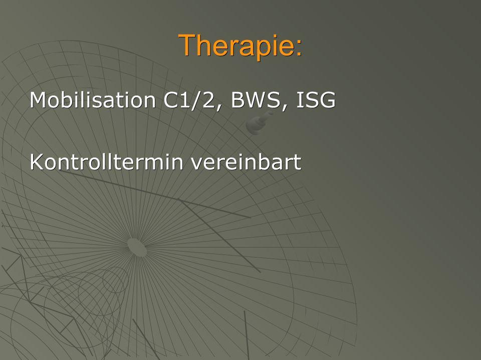 Therapie: Mobilisation C1/2, BWS, ISG Kontrolltermin vereinbart