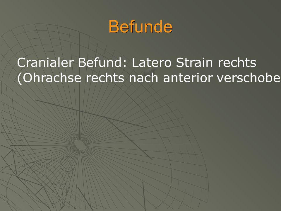 Befunde Cranialer Befund: Latero Strain rechts