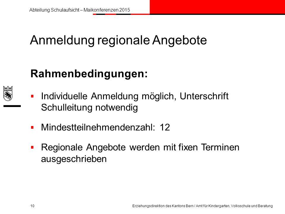 Anmeldung regionale Angebote