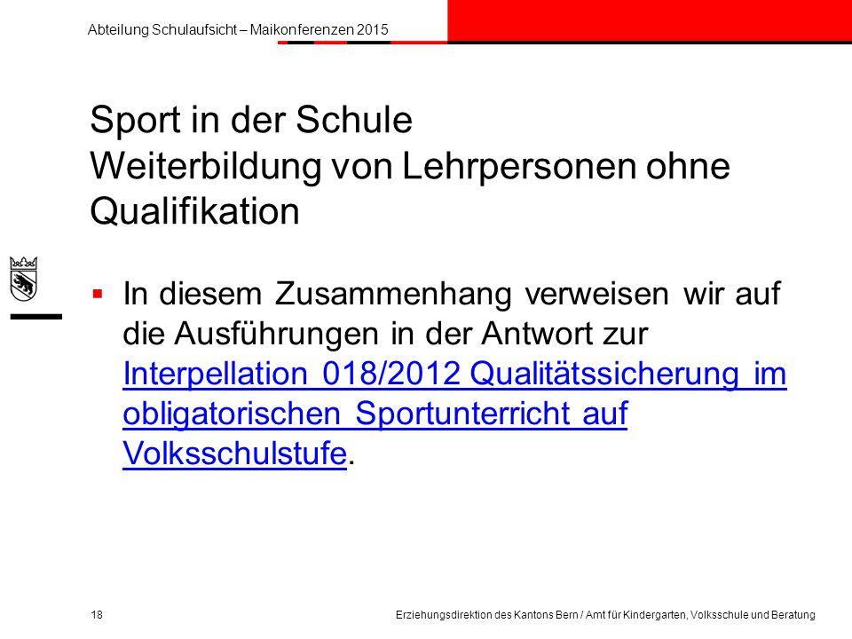 Sport in der Schule Weiterbildung von Lehrpersonen ohne Qualifikation