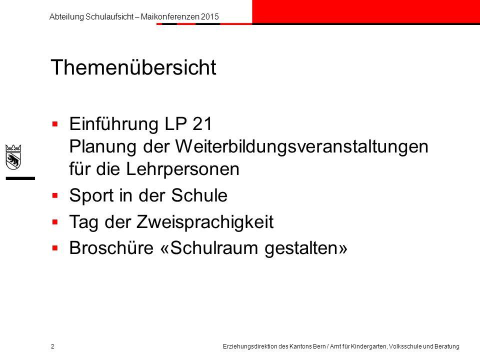 Themenübersicht Einführung LP 21 Planung der Weiterbildungsveranstaltungen für die Lehrpersonen. Sport in der Schule.