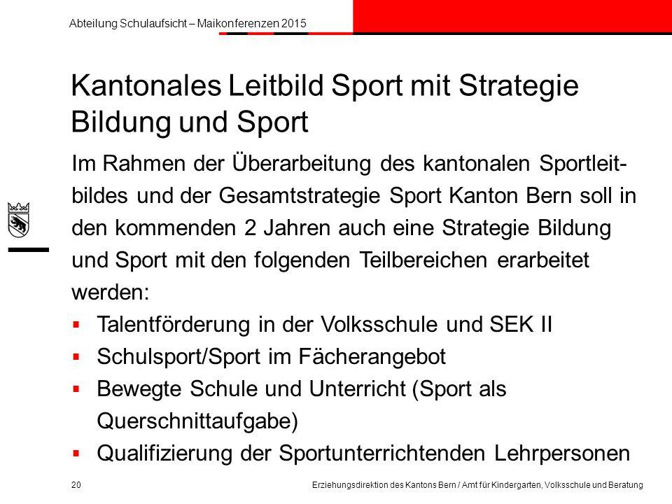 Kantonales Leitbild Sport mit Strategie Bildung und Sport