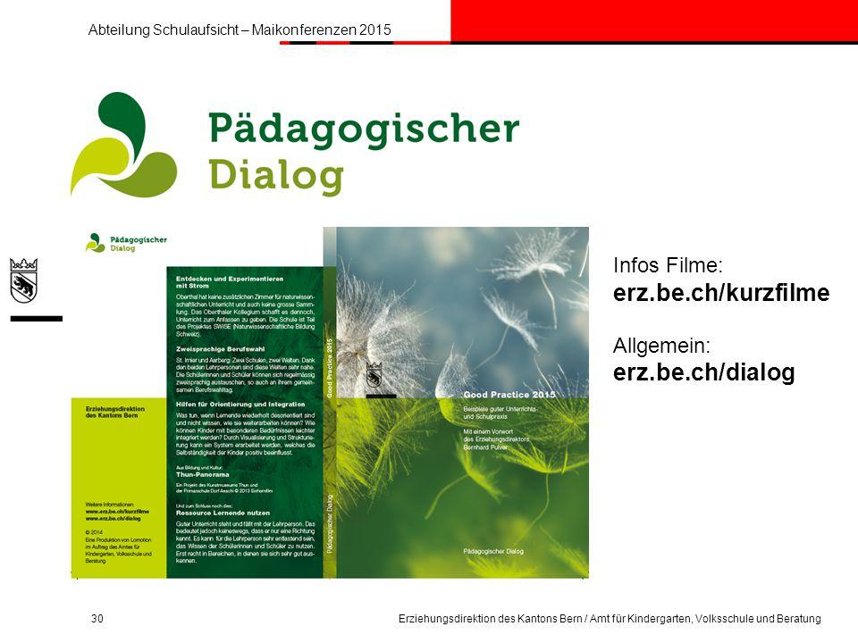 erz.be.ch/kurzfilme erz.be.ch/dialog Infos Filme: Allgemein:
