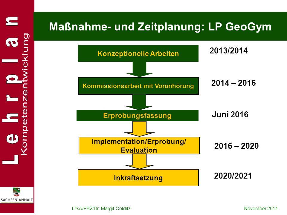 Maßnahme- und Zeitplanung: LP GeoGym