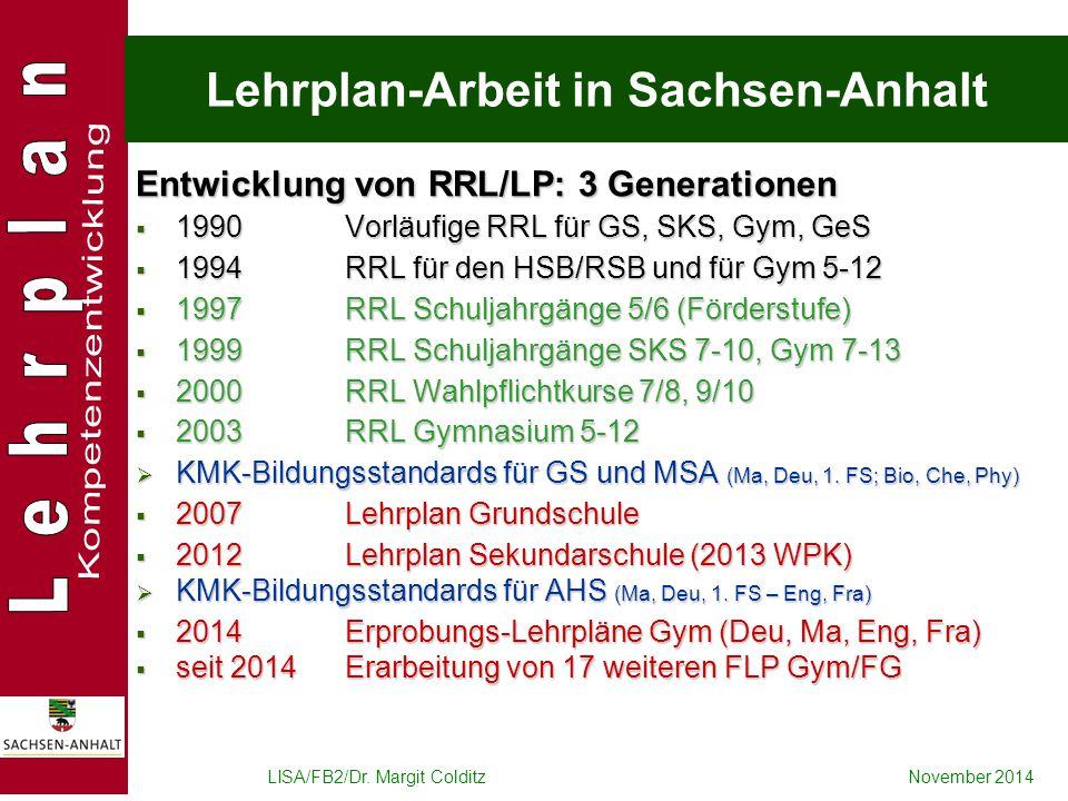 Lehrplan-Arbeit in Sachsen-Anhalt