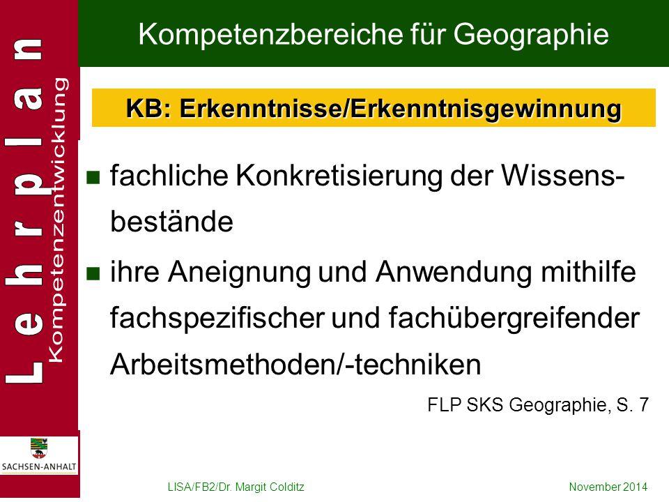 Kompetenzbereiche für Geographie