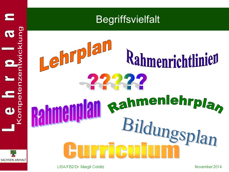 Lehrplan Rahmenrichtlinien Rahmenplan Rahmenlehrplan