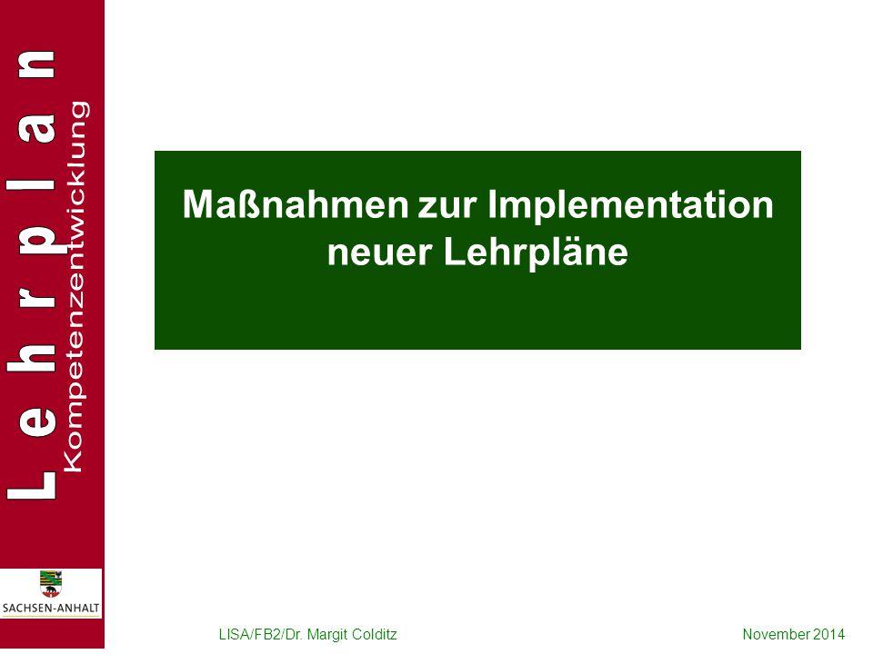 Maßnahmen zur Implementation neuer Lehrpläne