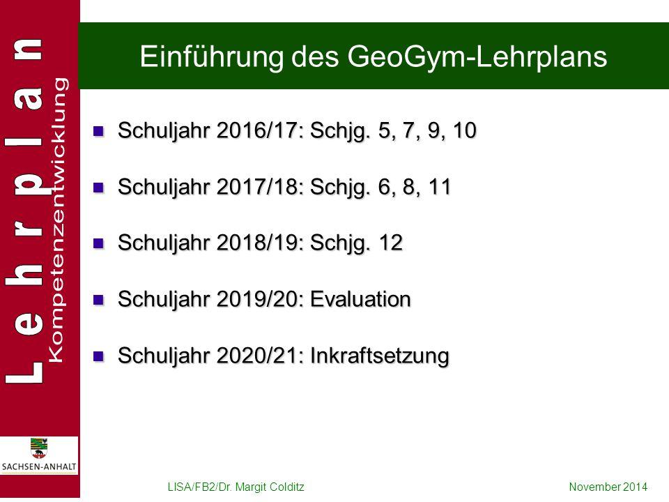 Einführung des GeoGym-Lehrplans