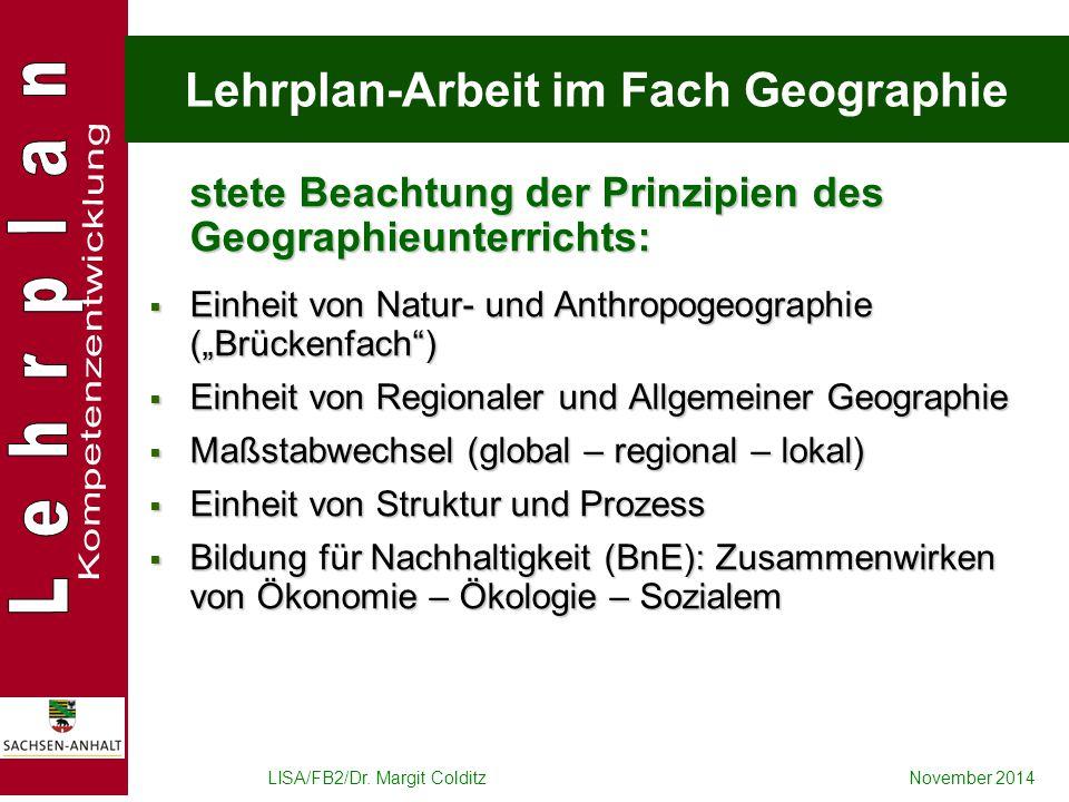 Lehrplan-Arbeit im Fach Geographie