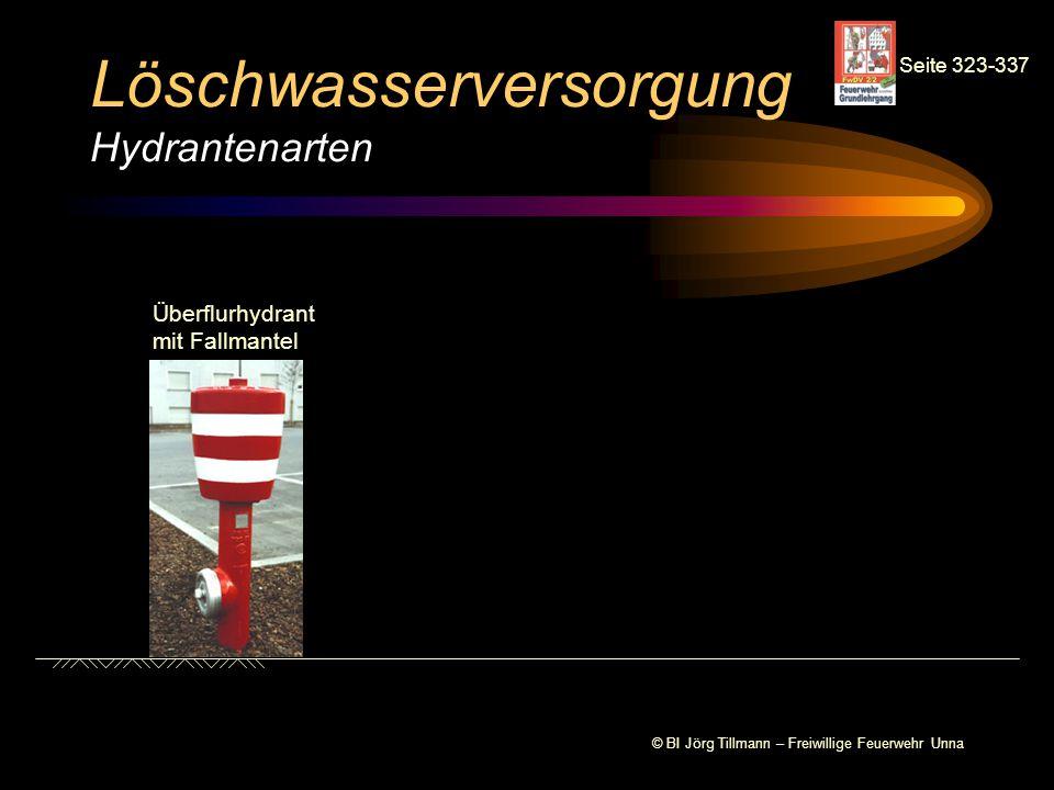 Löschwasserversorgung Hydrantenarten