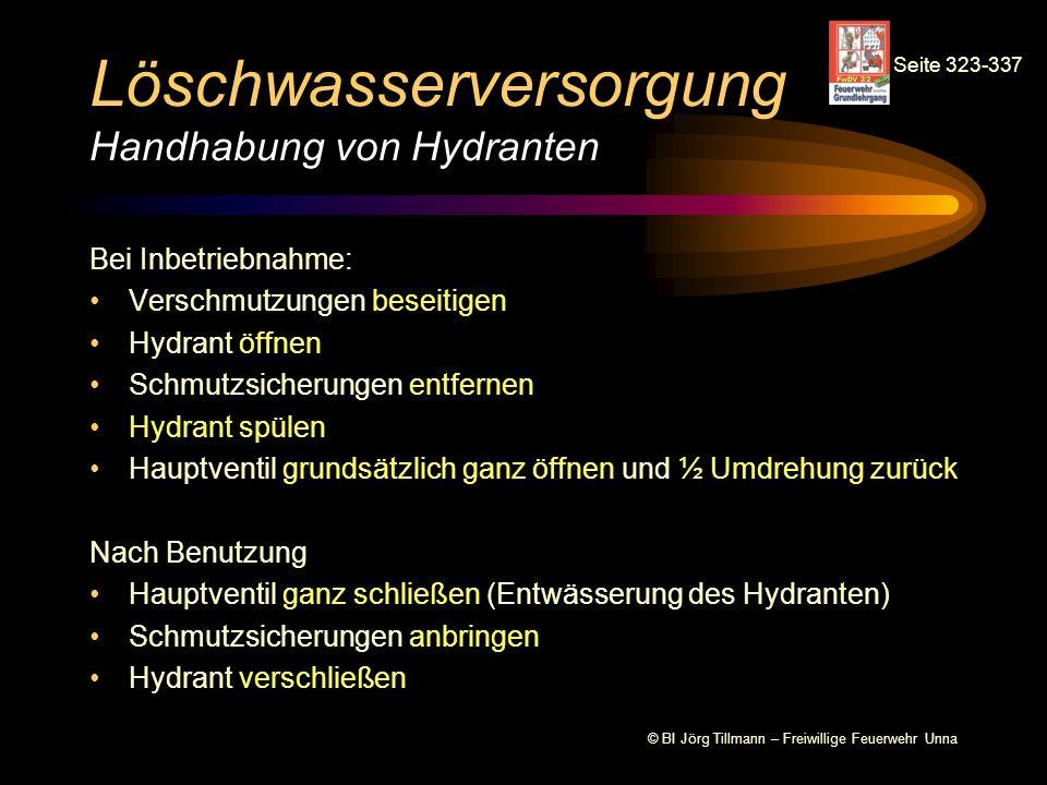 Löschwasserversorgung Handhabung von Hydranten