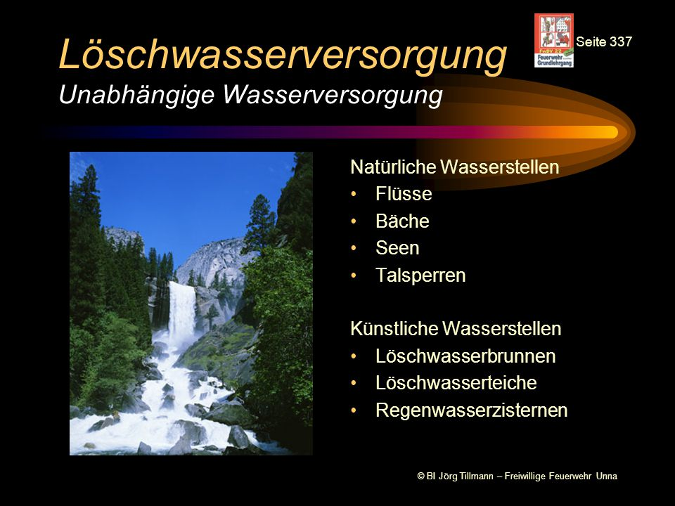 Löschwasserversorgung Unabhängige Wasserversorgung