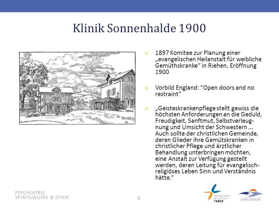 """Klinik Sonnenhalde 1900 1897 Komitee zur Planung einer """"evangelischen Heilanstalt für weibliche Gemüthskranke in Riehen, Eröffnung 1900."""