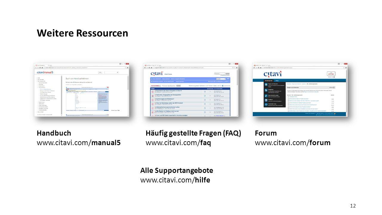 Weitere Ressourcen Handbuch www.citavi.com/manual5