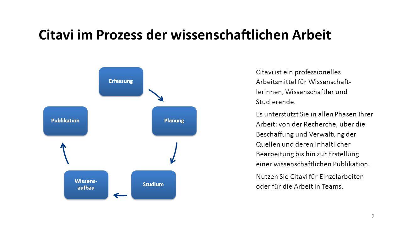 Citavi im Prozess der wissenschaftlichen Arbeit
