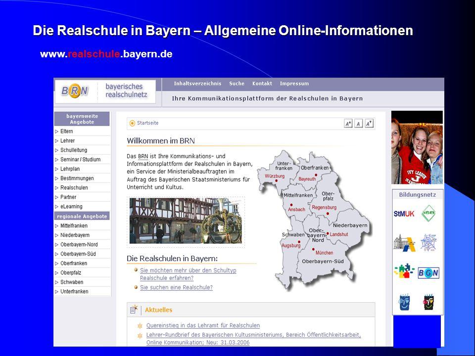 Die Realschule in Bayern – Allgemeine Online-Informationen