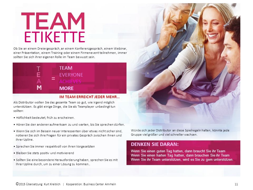 ETIKETTE TEAM EVERYONE ACHIEVES MORE DENKEN SIE DARAN: