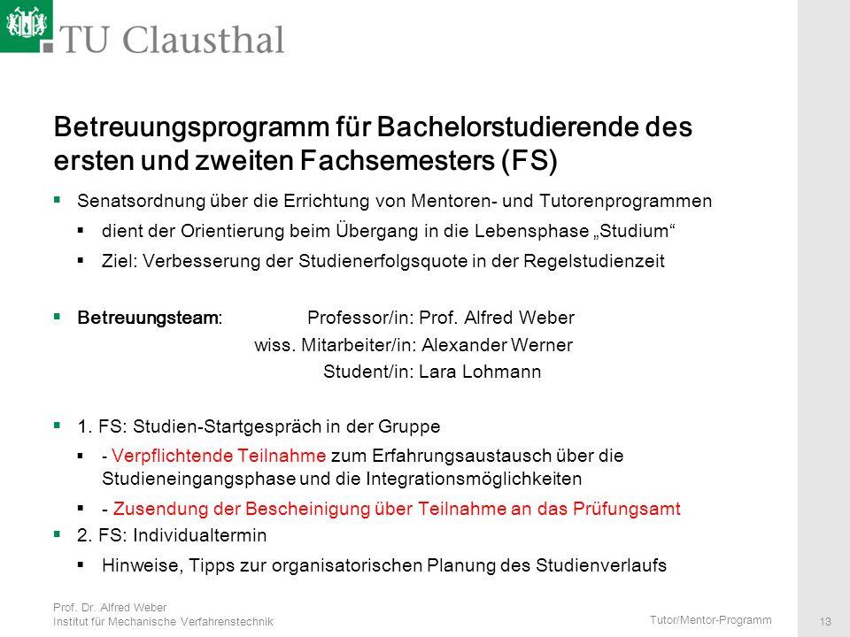 Betreuungsprogramm für Bachelorstudierende des ersten und zweiten Fachsemesters (FS)