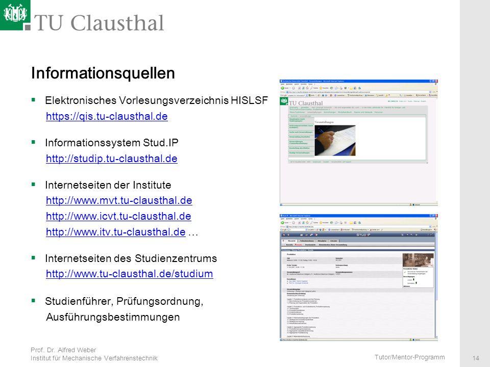 Informationsquellen Elektronisches Vorlesungsverzeichnis HISLSF