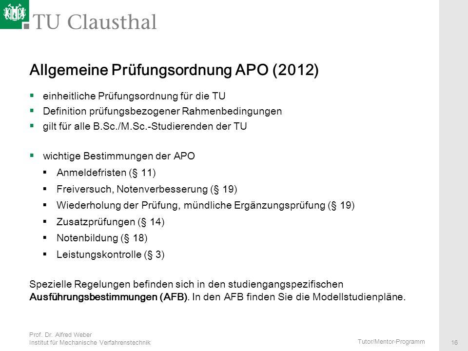 Allgemeine Prüfungsordnung APO (2012)