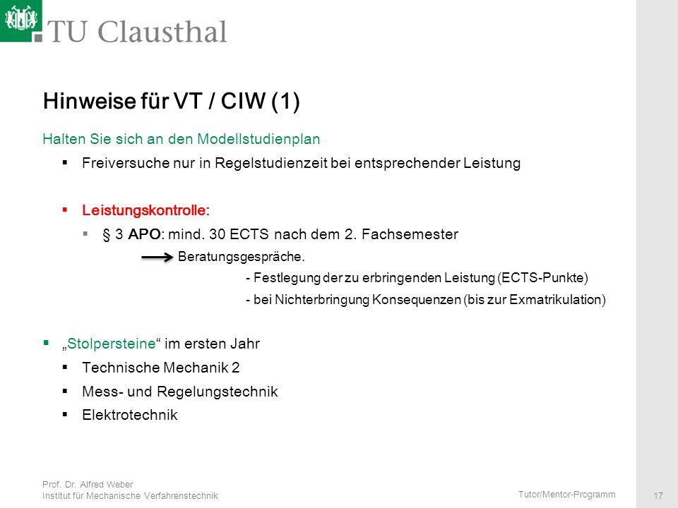 Hinweise für VT / CIW (1) Halten Sie sich an den Modellstudienplan