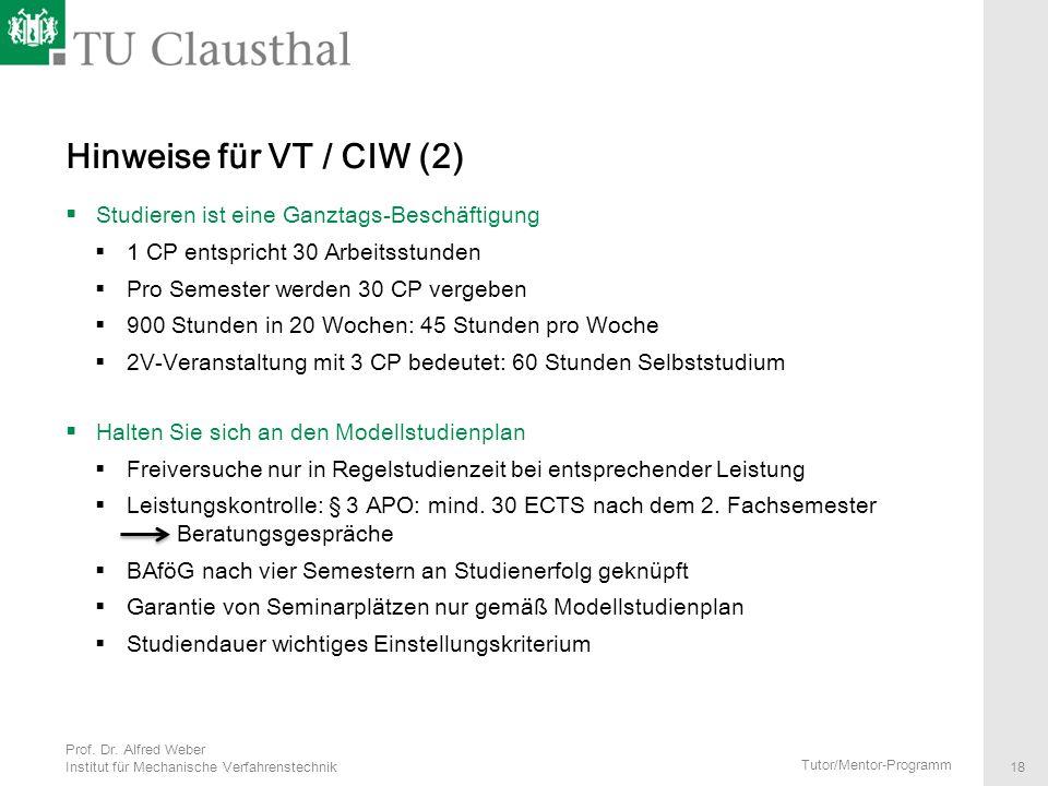 Hinweise für VT / CIW (2) Studieren ist eine Ganztags-Beschäftigung