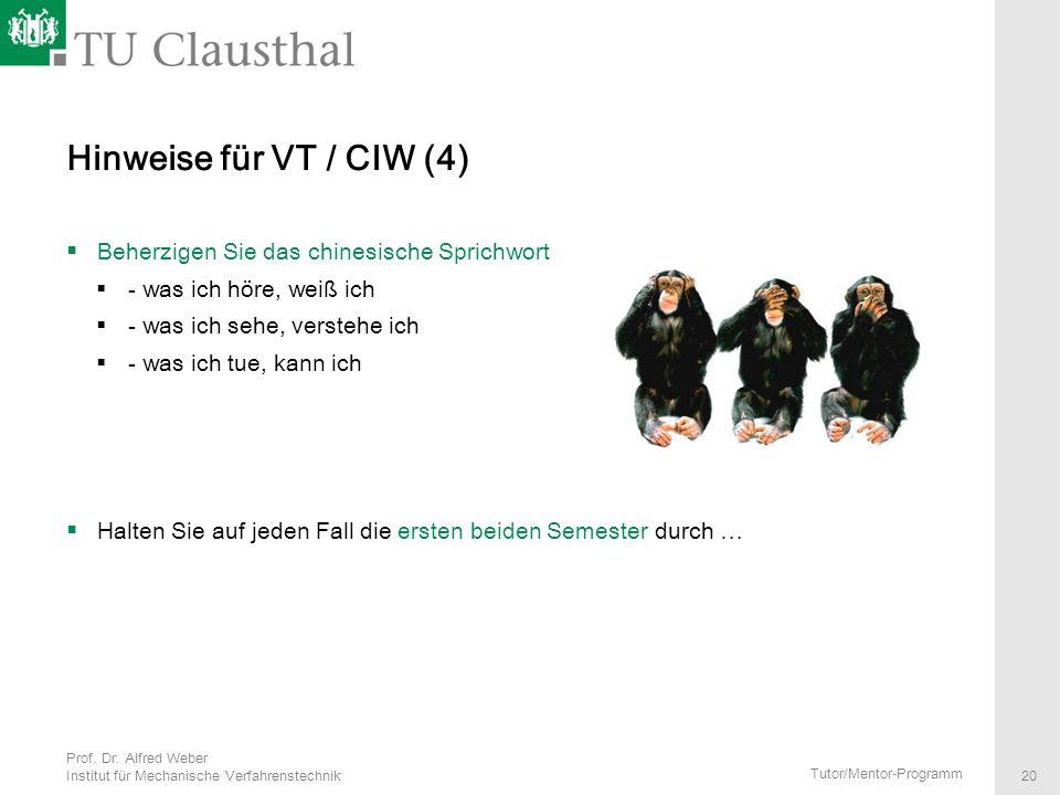 Hinweise für VT / CIW (4) Beherzigen Sie das chinesische Sprichwort
