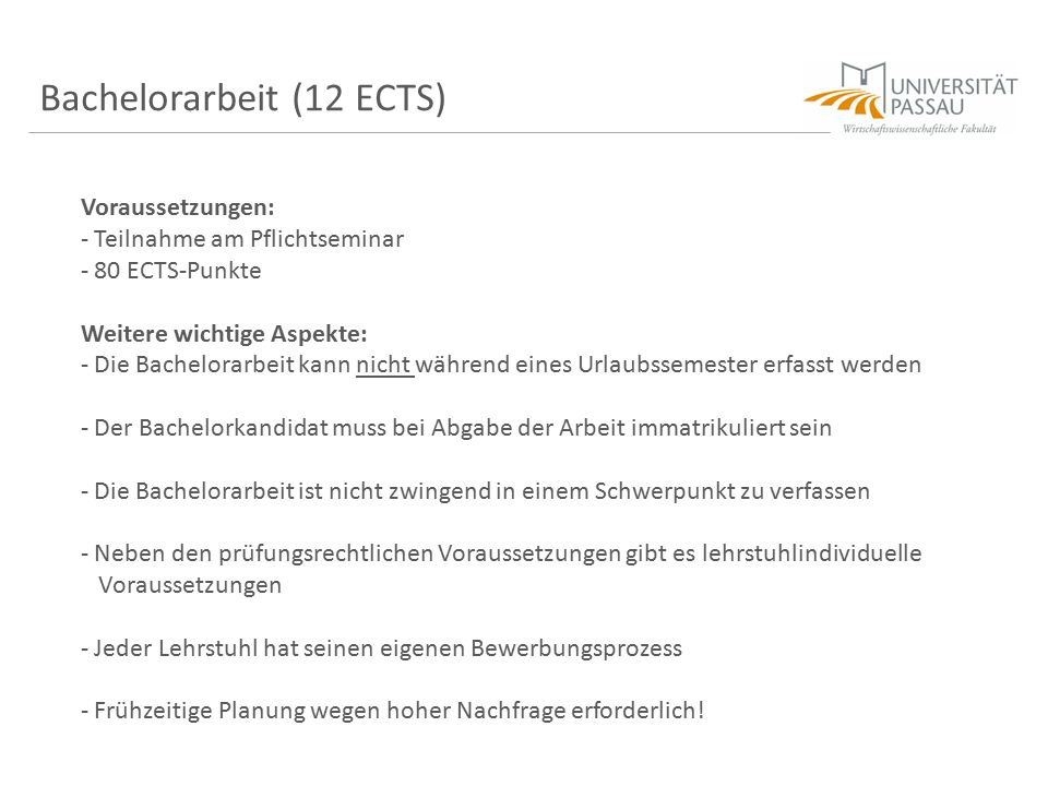 Bachelorarbeit (12 ECTS)