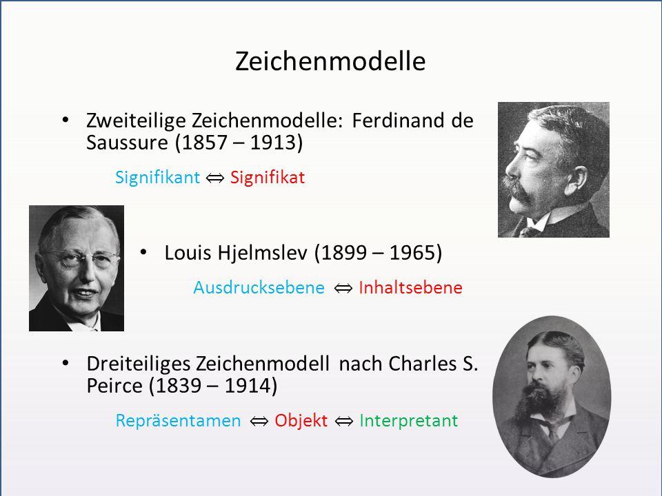 Zeichenmodelle Zweiteilige Zeichenmodelle: Ferdinand de Saussure (1857 – 1913) Signifikant ⇔ Signifikat.