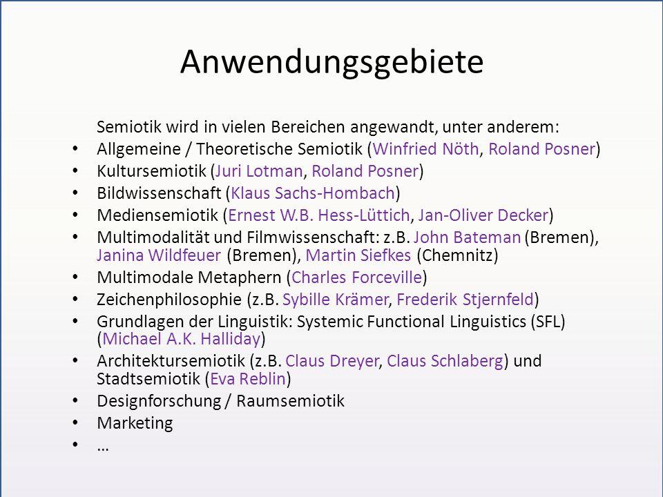 Anwendungsgebiete Semiotik wird in vielen Bereichen angewandt, unter anderem: Allgemeine / Theoretische Semiotik (Winfried Nöth, Roland Posner)