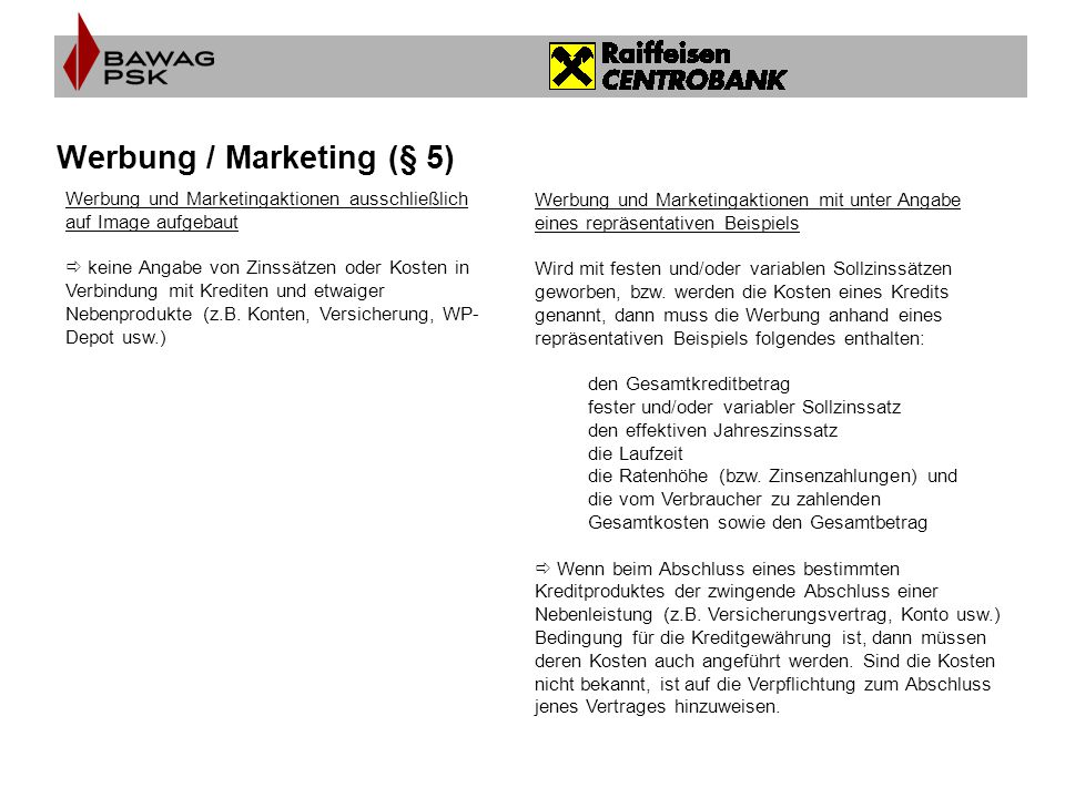 Werbung / Marketing (§ 5)