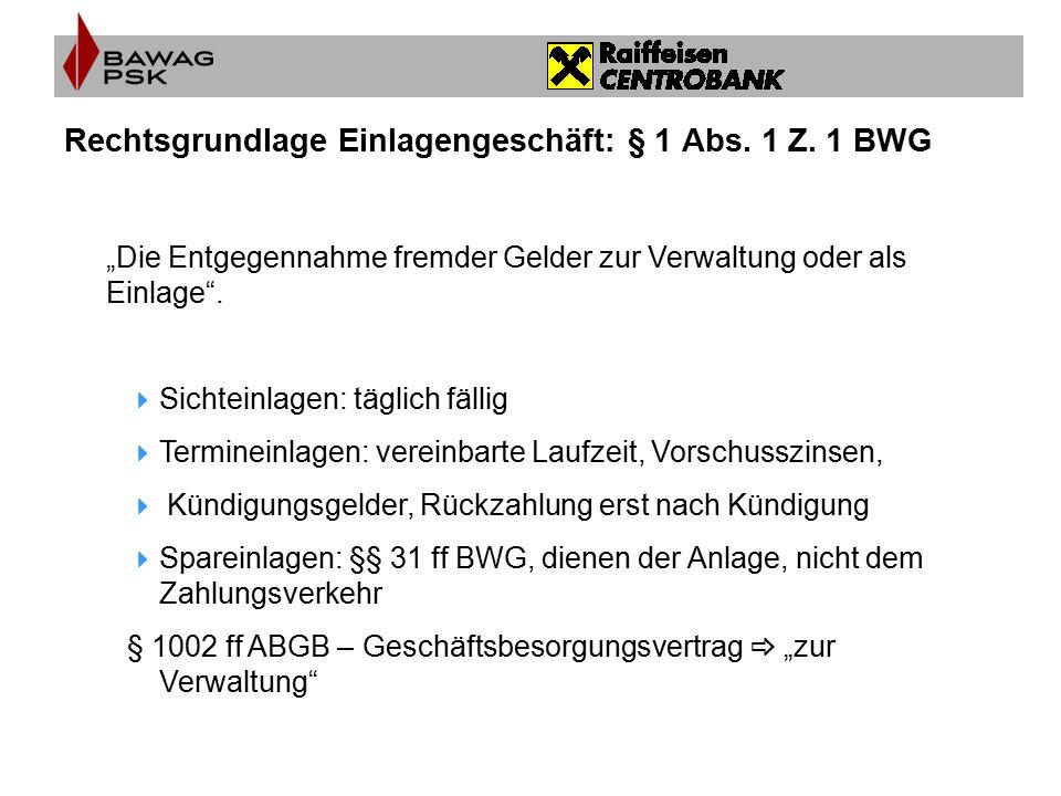Rechtsgrundlage Einlagengeschäft: § 1 Abs. 1 Z. 1 BWG