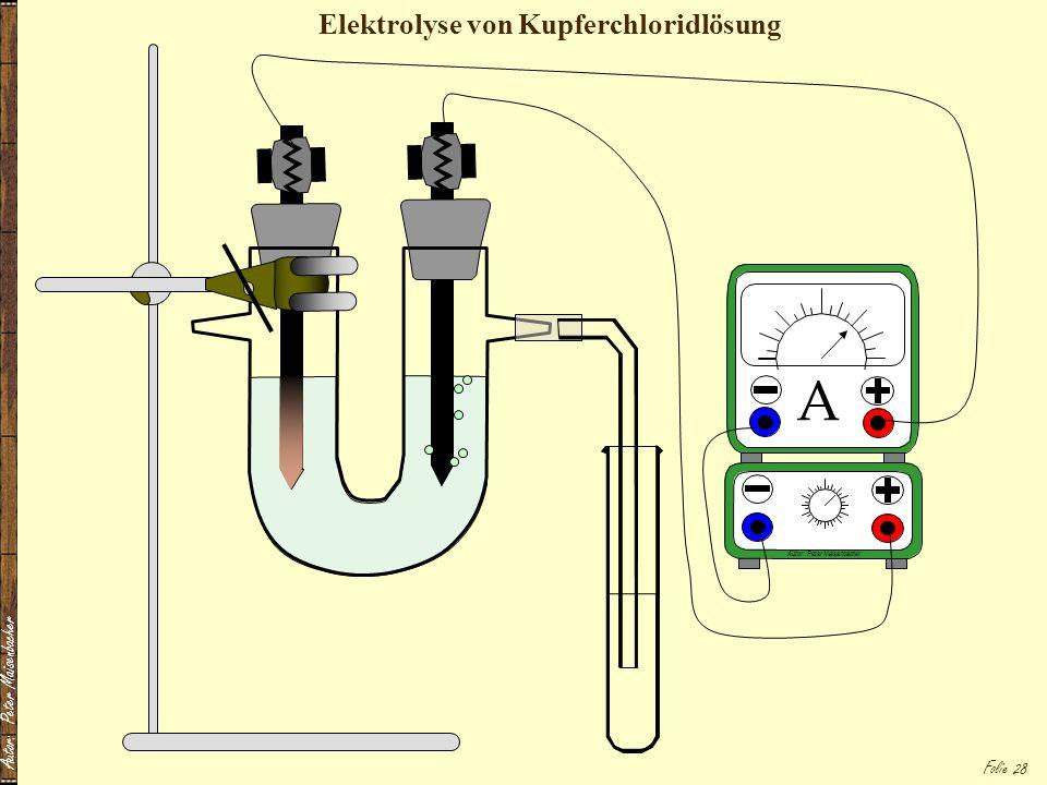 Elektrolyse von Kupferchloridlösung