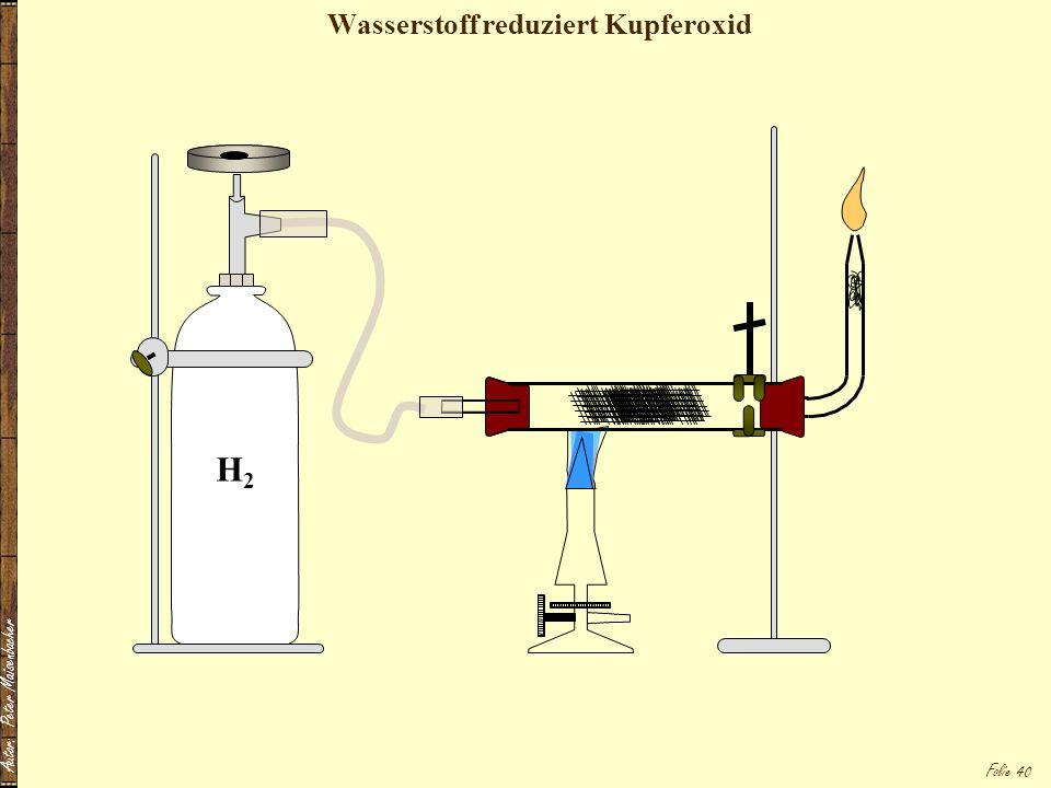 Wasserstoff reduziert Kupferoxid