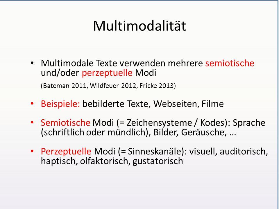 Multimodalität Multimodale Texte verwenden mehrere semiotische und/oder perzeptuelle Modi. (Bateman 2011, Wildfeuer 2012, Fricke 2013)