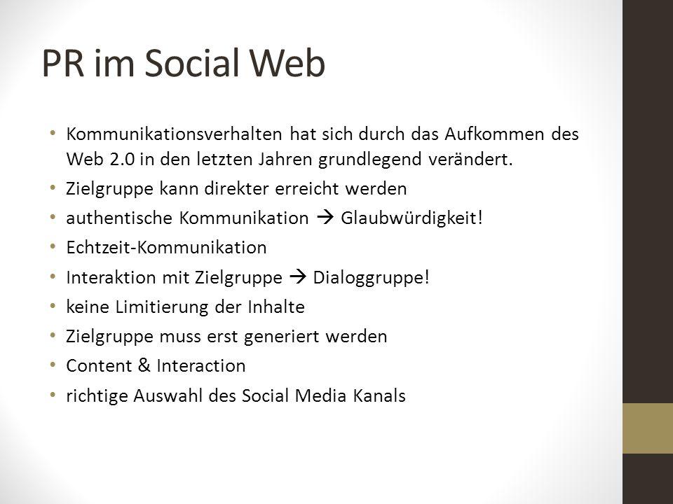 PR im Social Web Kommunikationsverhalten hat sich durch das Aufkommen des Web 2.0 in den letzten Jahren grundlegend verändert.