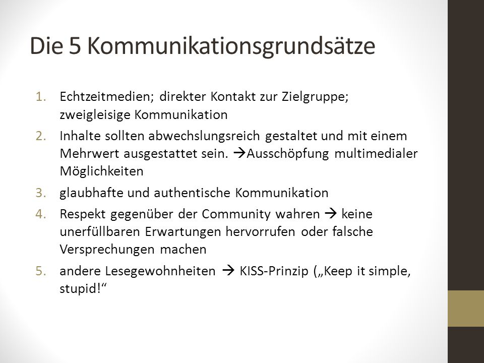 Die 5 Kommunikationsgrundsätze