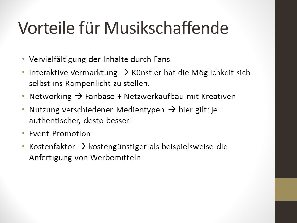 Vorteile für Musikschaffende