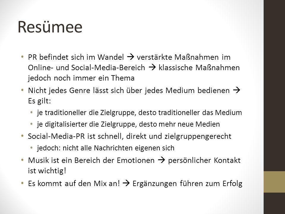 Resümee PR befindet sich im Wandel  verstärkte Maßnahmen im Online- und Social-Media-Bereich  klassische Maßnahmen jedoch noch immer ein Thema.