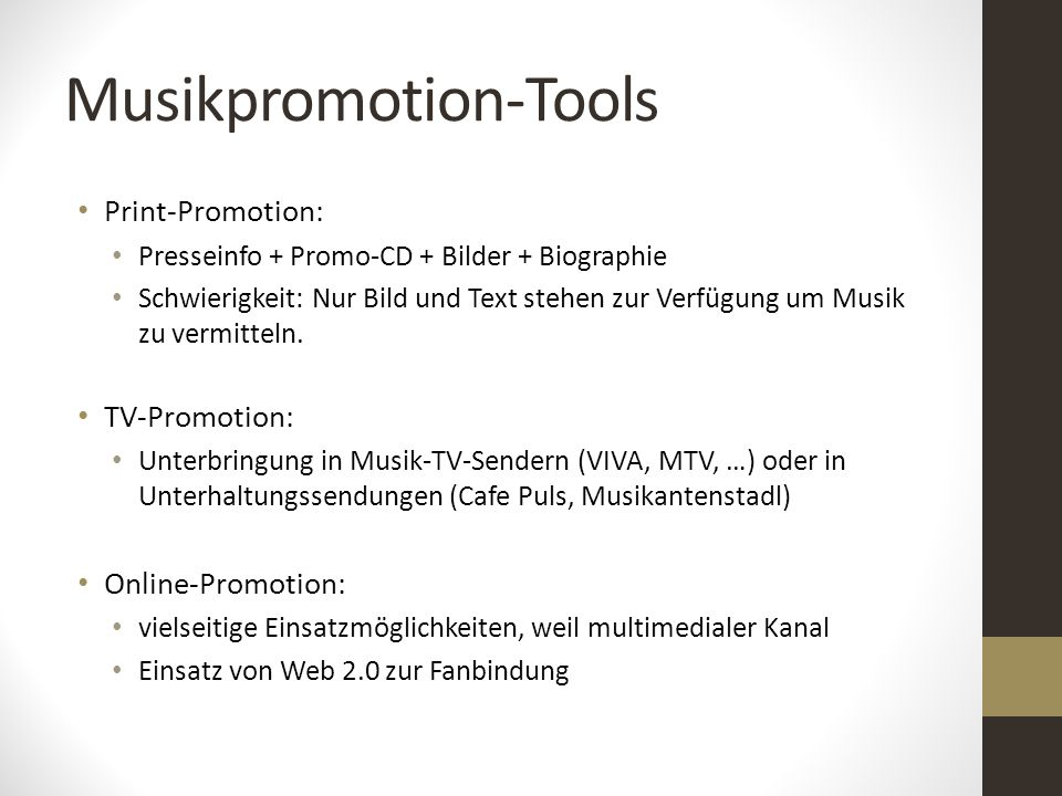 Musikpromotion-Tools