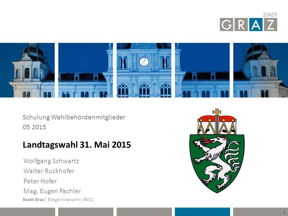 Landtagswahl 31. Mai 2015 Schulung Wahlbehördenmitglieder 05 2015