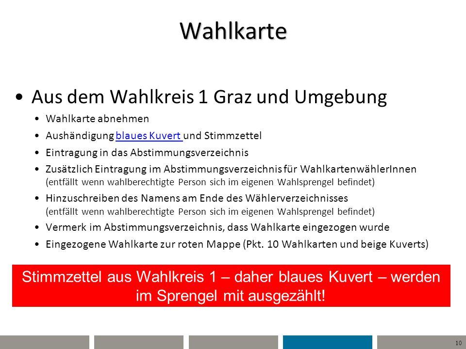 Wahlkarte Aus dem Wahlkreis 1 Graz und Umgebung