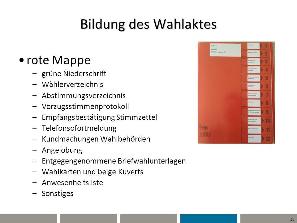 Bildung des Wahlaktes rote Mappe grüne Niederschrift Wählerverzeichnis