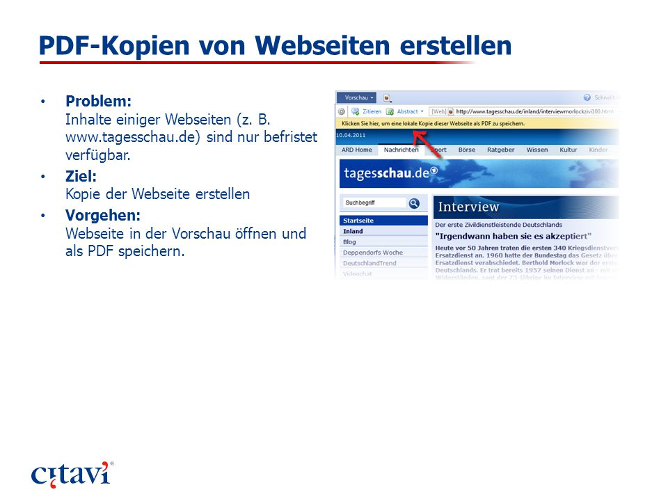 PDF-Kopien von Webseiten erstellen