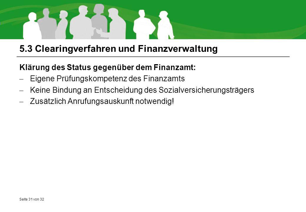 5.3 Clearingverfahren und Finanzverwaltung