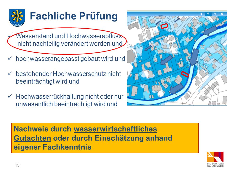 Fachliche Prüfung Wasserstand und Hochwasserabfluss nicht nachteilig verändert werden und. hochwasserangepasst gebaut wird und.